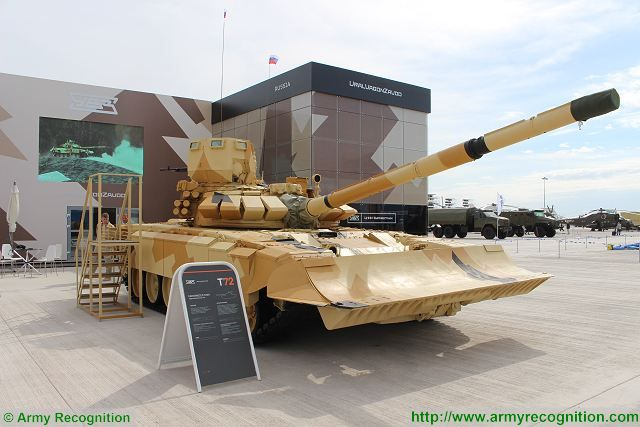 T-72 MBT with urban warfare package kit Uralvagonzavod KADEX 2016 Astana Kazakhstan 001