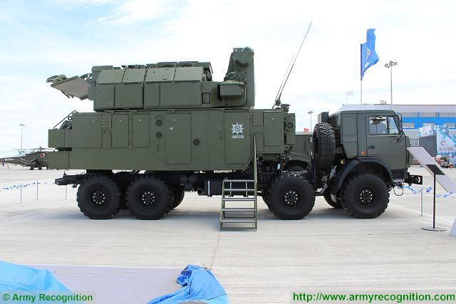 Russia's Almaz-Antey Corporation displays the Tor-M2KM (NATO reporting name: SA-15 Gauntlet) air defense missile system at the KADEX 2016 international arms exhibition in Astana in Kazakhstan. At KADEX 2016, the Tor-M2KM is mounted on a Russian 8x8 truck chassis model 63501.