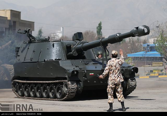Iran Presents Hoveyzeh 155mm Self Propelled Howitzer Based