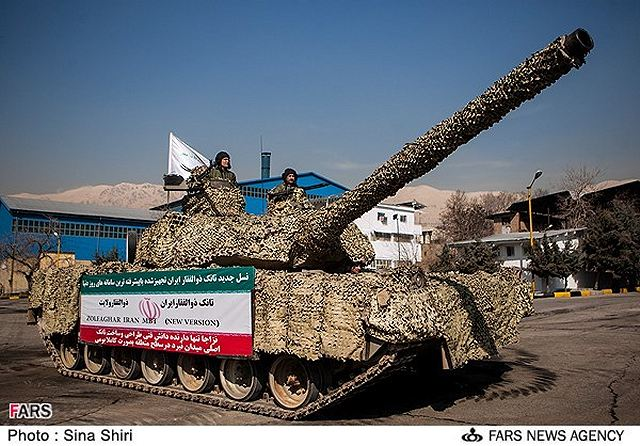 Home-made Zulfiqar (Zolfaqar) tanks optimized by Iranian Army experts were unveiled by Commander of the Iranian Army Ground Force Brigadier General Ahmad Reza Pourdastan on Monday, February 4, 2013. During the unveiling ceremony, which was attended by a group of army commanders and high-ranking military officials, advanced versions of Zolfaqar tank was unveiled.