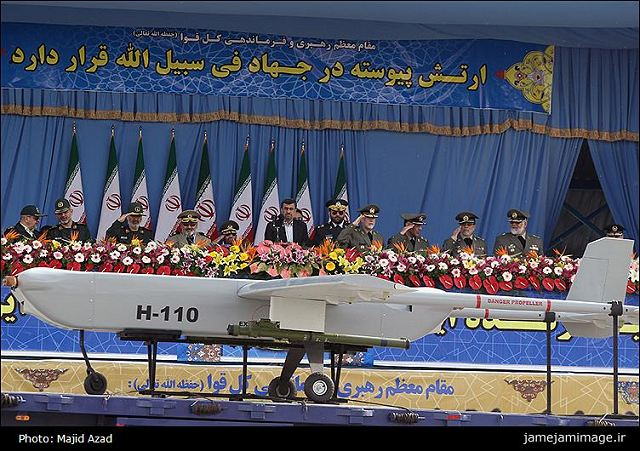 The Iranian Air Defense Force displayed a new Unmanned Aerial Vehicle (UAV) on the occasion of the National Army Day. The new drone, named Sarir (Throne) H-110 , was showcased in the military parades underway at the mausoleum of the Founder of the Islamic Republic, the Late Imam Khomeini, in Southern Tehran.