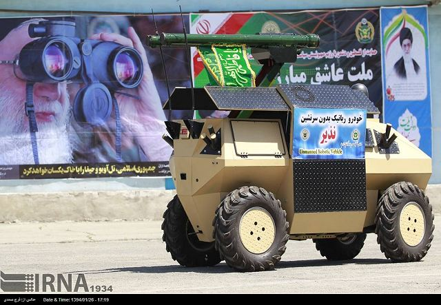 Last week, the Iranian Defense Industry has unveild a new wheeled unmanned ground vehicle (UGV), called Nazeer or Nazir which can be armed with missile or light machine gun. Iran's modern defense industrial base was developed during the period of the Shah by an import substitution strategy, in which Iran would learn to produce, assemble, repair and maintain military equipment.