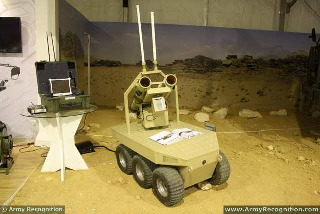 The King Abdullah Design and Development Bureau showcases at SOFEX 2014 its new Multi-Function Robot. It is a wireless controlled robotic vehicle designed to carry out long-range missions, using its passive distance-measuring camera.