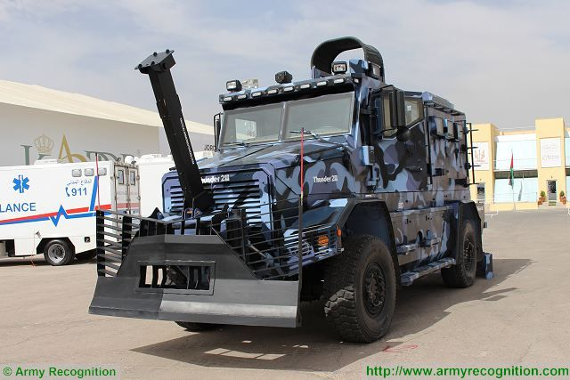 The Canadian Company Cambli demonstrates its new Thunder 2 armoured tactical truck at SOFEX 2016, the Special Forces Operations Exhibition and Conference in Amman, Jordan. Cambli Group is a family-owned business that has been involved in the design and manufacturing of armored trucks for more than 50 years.