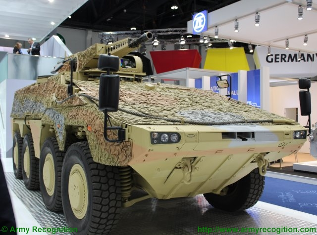 KMW presents the GTK Boxer variant with a LANCE RC turret at IDEX 2015 640 001