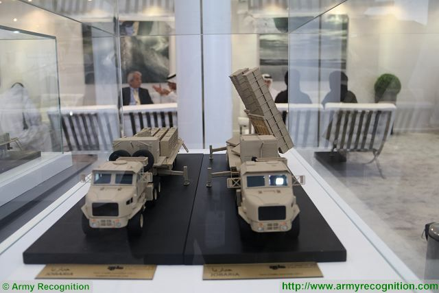 At IDEX 2017, the UAE-based Company Al Jaber Land Systems showcases its new 300mm MLRS (Multiple launch Rocket System), Jobaria TCL Twin Cradle Launcher fitted with two launcher units each able to fire four rockets.