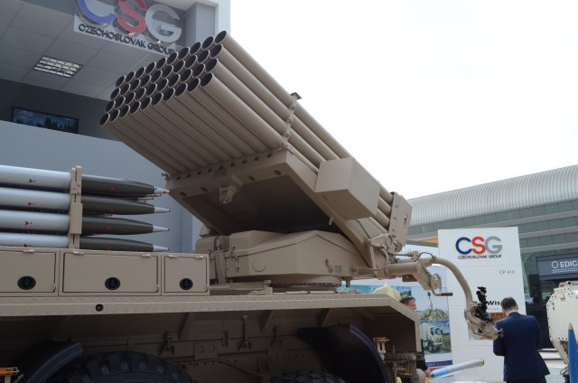 Excalibur Army unveils the RM 70 Vampire 4D 122mm self propelled MLRS at IDEX 2017 640 002