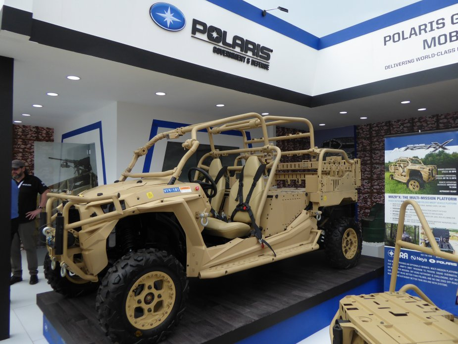 IDEX 2019 Polaris displays its multi mission MRZR X vehicle