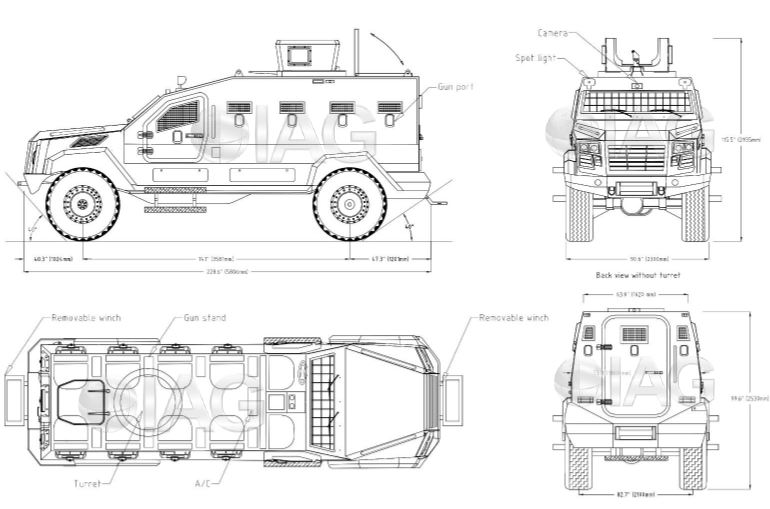 Guardian Xtreme APC 4x4 MRAP Mine Resistant Ambush Protected vehicle IAG line drawing blueprint 001
