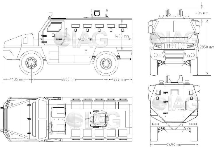 Rila 4x4 MRAP Mine Resistant Ambush Protected vehicle APC personnel carrier IAG line drawing blueprint 001