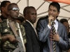 Madagascar's opposition leader Andry Rajoelina addresses his supporters during a rally in Antananarivo March 14, 2009. Rajoelina emerged from hiding on Saturday to tell thousands of his supporters he was giving President Marc Ravalomanana four hours to step down. Madagascan soldiers gather outside Defence Minister Mamy Ranaivoniarivo's office in the capital Antananarivo.