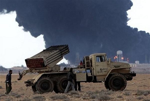 Anti-Libyan Leader Moammar Gadhafi rebels use BM-21 MRLS Multiple Rocket launcher System to fire rockets during fighting against pro- Gadhafi fighters, in Sidra town, eastern Libya, on Wednesday March 9, 2011.