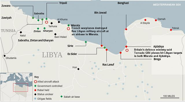 Libyan rebels have entered the key oil town of Ras Lanuf after routing Muammar Gaddafi's forces in Brega with help from UN-backed air strikes that tipped the balance away from the military.