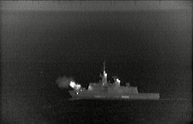 French Navy Light Stealth Frigate Courbet opens fire against Qaddafi forces using its 100mm main gun