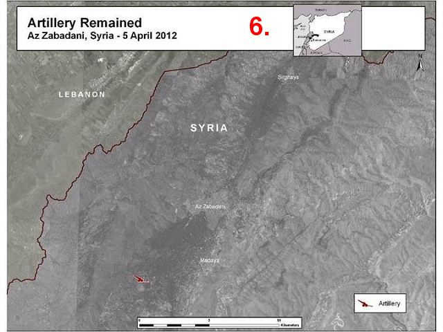 In some other places, such as Homs (graphic 5) and Zabadani (graphic 6), the Syrian government kept artillery units near residential areas where they could again fire upon them.