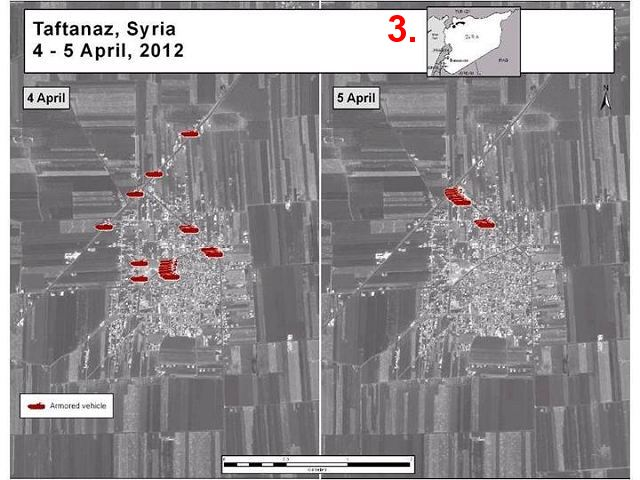In the case of Taftanaz (graphic 3), the Syrian government simply moved some armored vehicles out of Taftanaz to the nearby town of Zirdana (graphic 4).