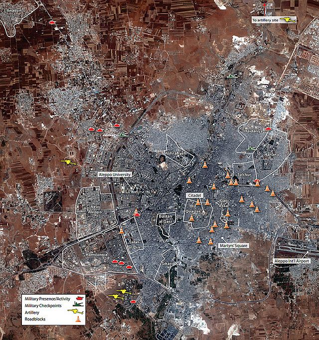This image map provides an overview of the activity seen in Aleppo from July 23, 2012 to August 1, 2012 (base image collected on July 29, 2012). DigitalGlobe, July 29, 2012, Aleppo, Syria, 36 11 10N, 37 07 59E (c) Analysis secured by Amnesty International USA (c) Digital Globe 2012