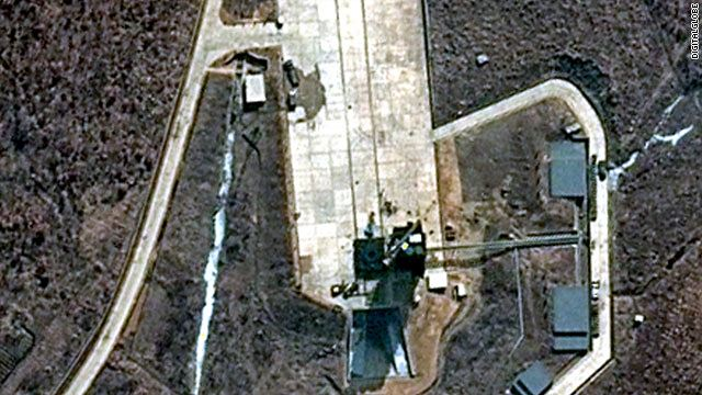 A new satellite image has captured increased activity on North Korea's launch pad as the country prepares for its controversial missile launch in mid-April. The DigitalGlobe image taken on March 28 shows trucks on the Tongch'ang-ni launch pad. Atop the umbilical tower, which sits beside where the assembled rocket will stand, a crane arm that will be used to lift the rocket stages has been swung wide