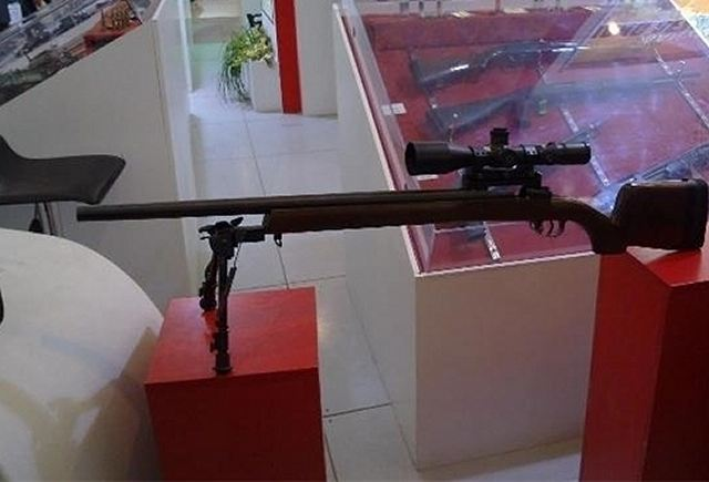 Iran unveils the Siyavash a new home-made ultra light sniper rifle during a visit by IRGC Commander Major General Mohammad Ali Jafari to an exhibition of the latest military achievements of the IRGC Ground Force's Research and Self-Sufficiency Jihad Organization in Tehran on November 18.