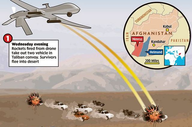 As the insurgents moved in from neighbouring Nimruz province into Helmand, a US air-strike was called in to cut them off before they disappeared into the local population and a jet destroyed two vehicles.