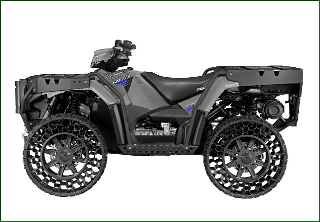 Polaris(R) Industries Inc., the leading manufacturer of off-road vehicles, today announced the company is launching a new military-grade all-terrain vehicle (ATV) featuring Terrain Armor(TM) Non-Pneumatic Tires (NPT). The new Sportsman(R) WV850 H.O. with Terrain Armor will be available to consumers looking for a true work vehicle, in December 2013, in very limited quantities.