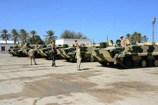 Ten Russian BMP-3 infantry fighting vehicles, the first part of an order made by the Qaddafi regime, have been handed over to the Libyan army. The handover ceremony took place at Mitiga Air Base. Attending were the Chief of Staff, General Abdel-Salam Jadallah Obeidi and the Chief of Staff of ground forces, Brigadier General Yousef Abu-Hajar, together with the Russian Ambassador, Ivan Molotkov, and a Russian delegation.