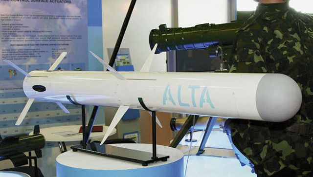 "Ukraine on Friday, September 26, presented the first indigenous surface-to-air missile Alta, reports the Ukrainian public consortium Ukroboronprom. ""The versatile missile Alta, the first missile designed entirely in Ukraine that uses a dual guidance, aroused the greatest interest"" of visitors at the international exhibition ""Weapons and Security 2014"", which takes place in Kiev from September 24 to 27, announced the consortium in a statement."