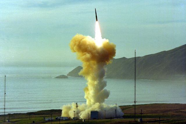Second test-launch LGM-30G Minuteman III ICBM Intercontinental ballistic missile by US Air Force 640 001
