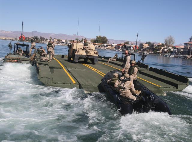 US Marines conduct land and water bridging exercise at Lake Elsinore 640 001