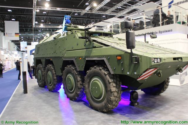 Rheinmetall HEL High-Energy Laser weapon station mounted on Boxer 8x8 armoured vehicle 640 001