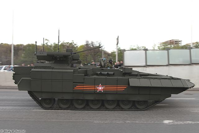 The Afganit active protection system (APS) is also mounted on the new Russian-made T-15 BMP infantry fighting vehicle.