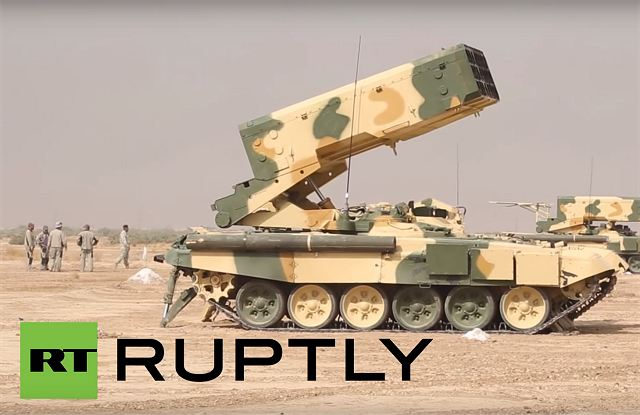 Iraqi Armed Forces have received TOS-1A heavy self-propelled flamethrower modification mounted on a new chassis, according to a broadcast by the Russia Today channel. The armament of the TOS-1A consists of a block launcher with 24 guide pipes of 220 mm calibre with 3,725 m length for launching unguided missile.