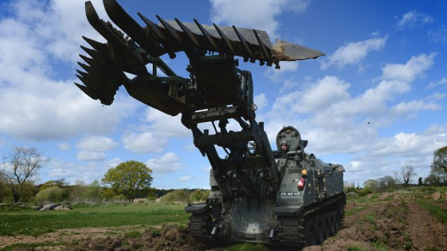 Widely regarded as the 'Swiss Army Knife' of combat engineering vehicles, BAE Systems' Terrier has been fitted with new technologies and systems by its defence engineers. The updated vehicle offers a new telescopic investigation arm and the ability to wade through two metre wave surges.