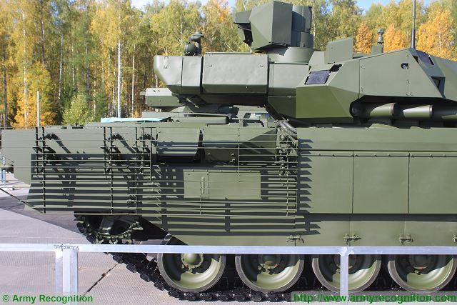 Russian-made main battle tank T-14 Armata protected with new