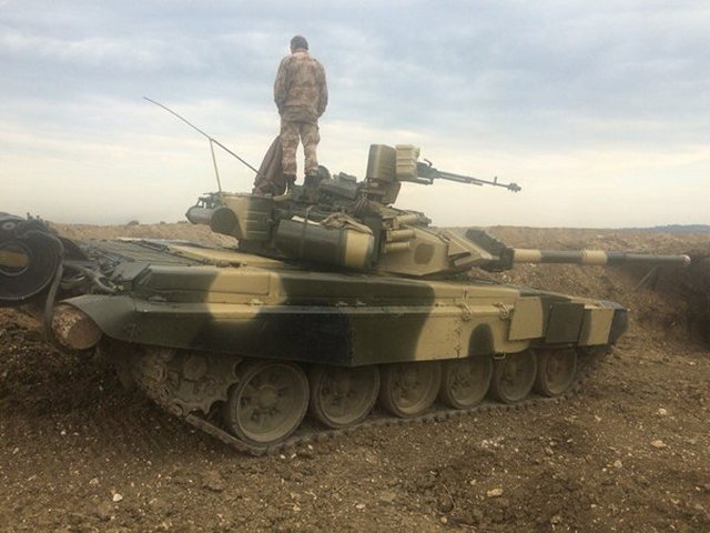 The T-90 main battle tank`s (MBT) protection package, which comprises both combined armour plates and Kontakt-5 (Contact V) explosive reactive armour (ERA) can defeat most of modern anti-tank guided missiles (ATGM), according to the UralVagonZavod`s (UVZ) Deputy Director General, Vyacheslav Khalitov.