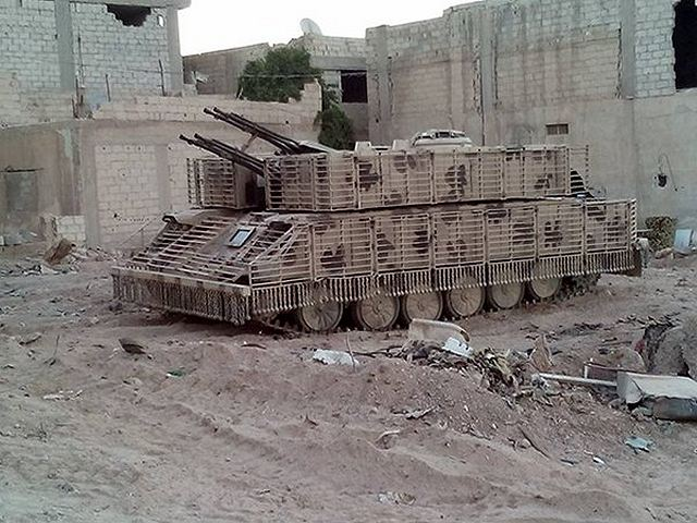 Syrian army uses local-made armour cage to increase protection of T-72 tanks and ZSU-23-4 640 001