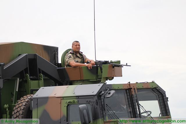 An open-top ring mount weapon station is mounted on the top of the crew cabin which is armed with the new MAG 58, 7.62 mm machine gun designed and manufactured by the Belgian firearms manufacturer FN Herstal.