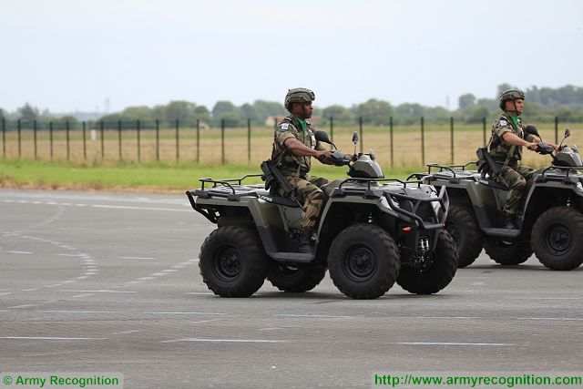 French soldier from the 2nd RH (2e régiment de hussard), a reconnaissance unit of the French Army display the new Polaris quad Sportsman 700.