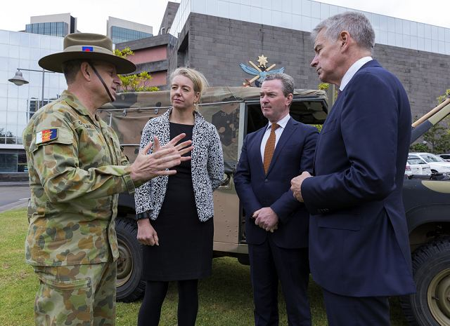 Thales Australia has delivered the first two Hawkei 4x4 armoured vehicles to the Australian Defence Force (ADF). The delivery was witnessed by Australia's Minister for Defense Industry Christopher Pyne and the CEO of Thales Australia, Mister Chris Jenkins at Victoria Barracks, Melbourne on 14 November 2016.