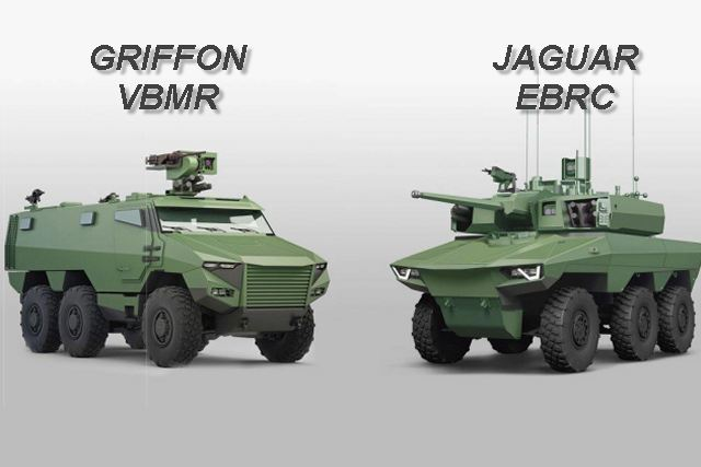 The DGA (French Defense Procurement Agency) awarded the French Companies Nexter Systems, Renault Trucks Defense et Thales an order for the first 319 Griffon VBMR (Véhicule Blindé MutiRôle - Multirole armoured vehicle) wheeled armoured vehicles and 20 Jaguar EBRC (Engin Blindé de Reconnaissance et de Combat - Reconnaissance and Combat armoured vehicle) as a part of the Scorpion Program of the French Army.