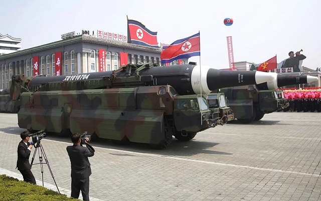 A new version of ICBM (InterContinental Ballistic Missile) mounted on wheeled chassis which seems similar to the KN-08 but with a longer missile. It uses the same 6 axles wheel chassis as the Musudan but each side of the vehicle are protected with armour plates.