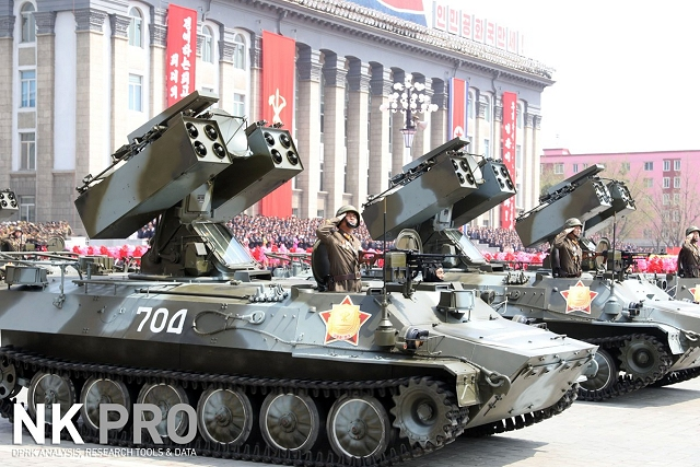 A new version of the Soviet-made SA-13 was showed for the first time at North Korean military parade, the turret seems to be similar but the turret is upgraded with new surface-to-air missiles with one block of four missiles on each side of the turret.