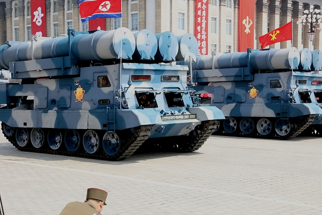 A new tracked TEL (Transporter Erector Launcher) carrying four canisterized missile mounted on the hull of a tank tracked chassis was presented for the first time at the North Korean military parade of April 2017. This vehicle seems very similar to the Russian-made S-300V 9A83 SA-12A Gladiator. According to foreign military experts it could be a new type of surface-to-ship missile system.
