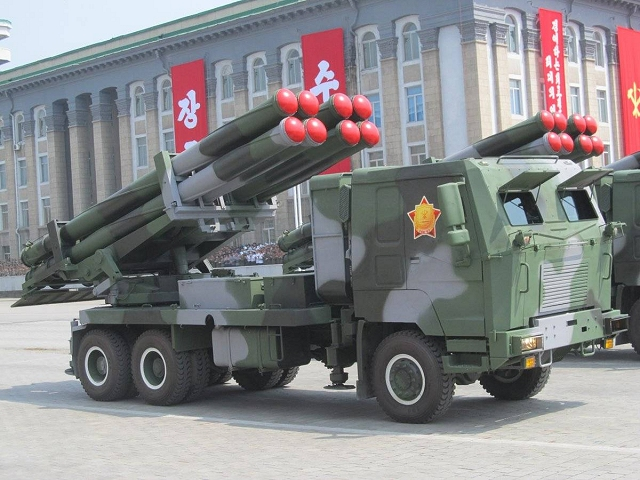 The KN-09 is 300mm MLRS (Multiple Launch Rocket System) designed and manufactured in North Korea. The rocket launcher system is mounted on a Sinotruk HOWO 6x6 truck chassis.