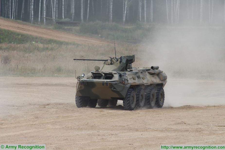 Russia and Belarus continue talks over a contract to supply Minsk with BTR-82A armored personnel carriers, Maria Vorobyova, press secretary of the Federal Service for Military-Technical Cooperation (FSMTC), told TASS.