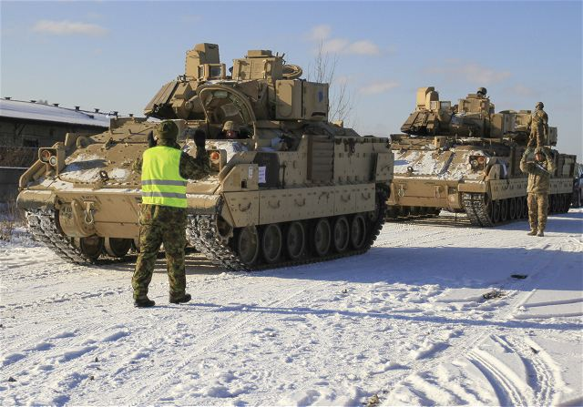 A fleet of U.S. M2A3 Bradley Fighting Vehicles and M1A2 Abrams tanks belonging to 1st Battalion, 68th Armor Regiment, 3rd Armored Brigade, 4th Infantry Division, arrived in Tapa, Estonia, Feb. 6, 2017. Soldiers assigned to Company C, 1-68 AR, gathered at the railhead to unload equipment as it arrived from Poland following initial reception and forward deployment.