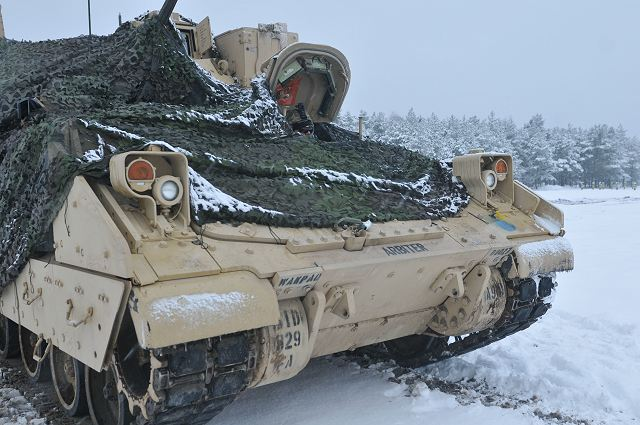 U.S. Army M1A Abrams main battle tank and Bradley crews from 1st Battalion, 68th Armor Regiment, 3rd Armored Brigade, 4th Infantry Division conducted their first zero and Live-Fire Accuracy Screening Tests at Presidential Range in Swietozow, Poland, January 16.