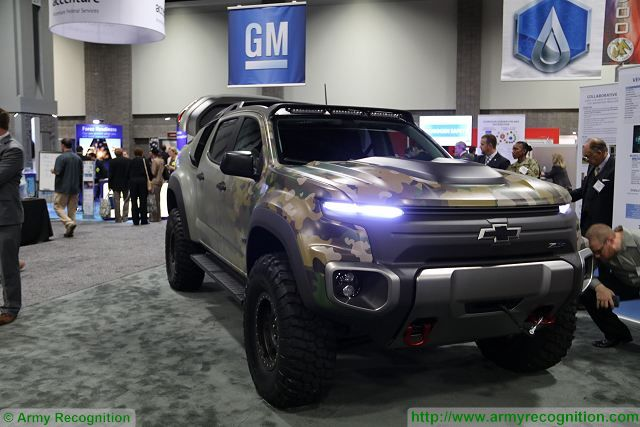 The U.S. army shows interest for vehicles powered by hydrogen fuel cells, the General Motor's (GM) Equinox vehiclesare being used on several installations. GM has developed a new demonstrator called ZH2 which is based on a modified Chevy Colorado, fitted with a hydrogen fuel cell and electric drive.