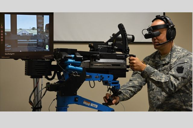 The U.S. Army simulations section here recently received the brigade combat team individual reality trainer, which is designed to train Soldiers on un-stabilized gunnery systems including the M2 machine gun, Mark 19 grenade launcher and M240B machine gun variants.