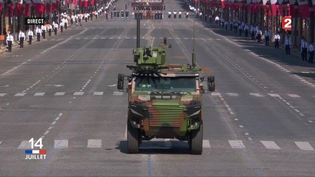 The Griffon, latest generation of wheeled armoured vehicle for the French army at the military parade on on Bastille Day, July 14, along the famous Champs-Elysées in Paris, France. This vehicle will replace the old VAB (Véhicule de l'Avant Blindé - Front line armoured vehicle) in service with the French Army since 1974.